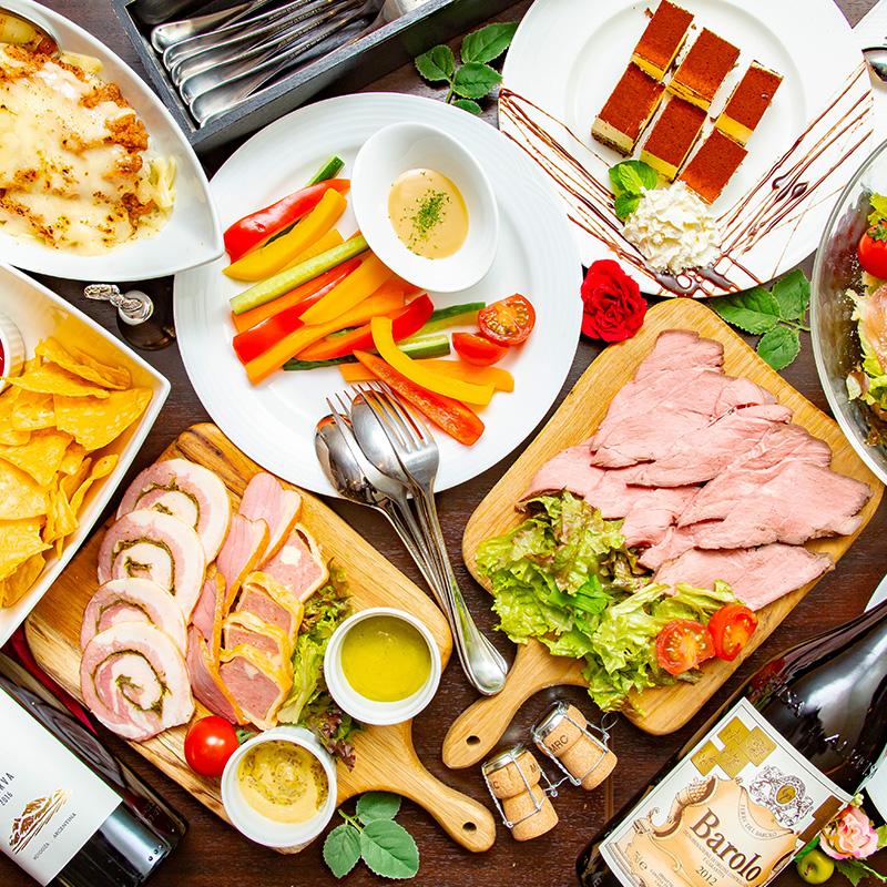 【贅沢肉盛合せプラン】肉の盛合せ&熟成ローストビーフ 飲み放題付2H~ 5,980円⇒5,000円(税込)